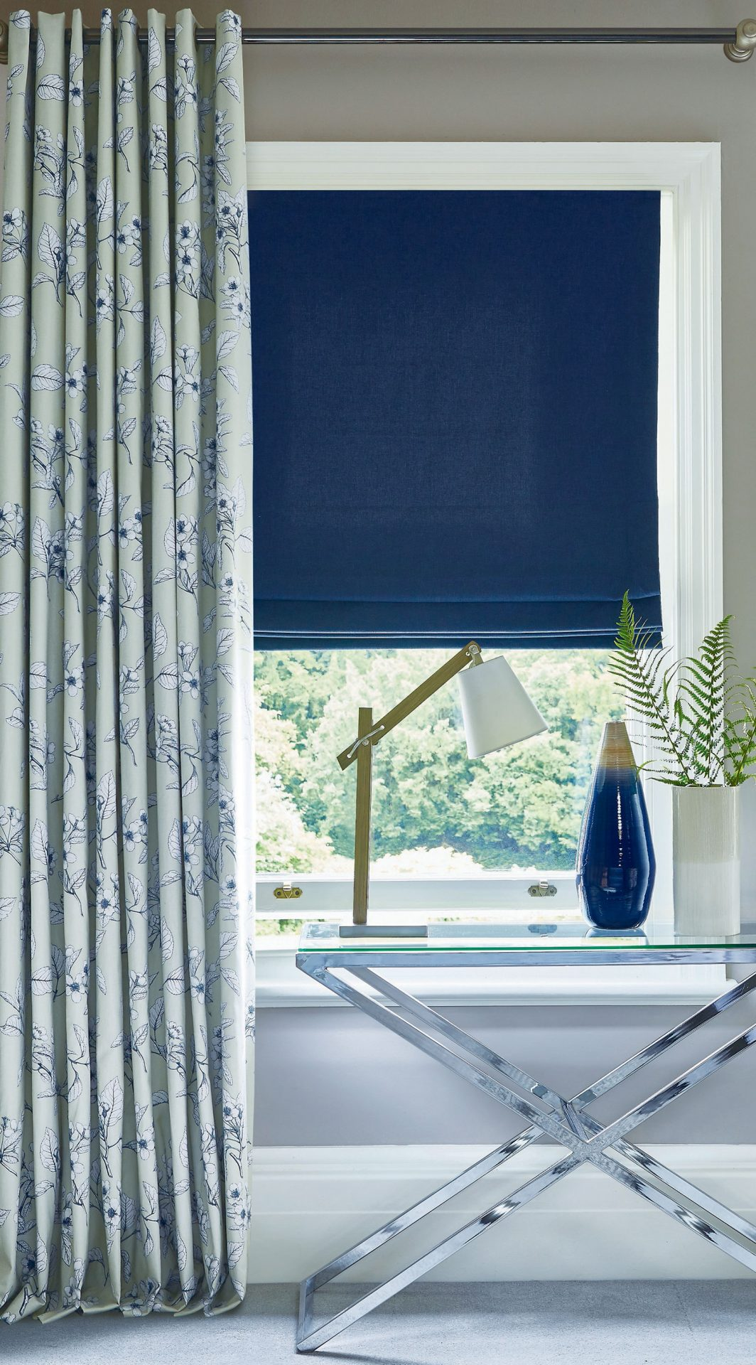 Oslo Oxford & Cherry Blossom Robins Egg | PT Roman Blind
