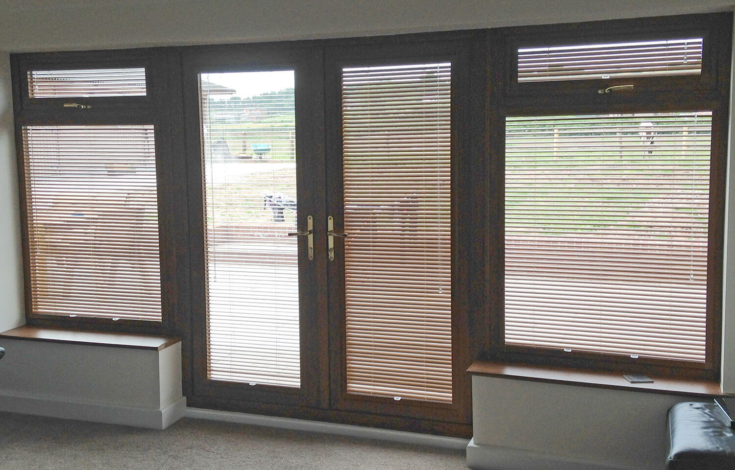 Golden Oak Frame Aluminium Venetian | Perfect Fit Blinds